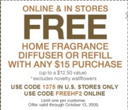 Bath & Body Works – Free Diffuser with Any $15 Purchase