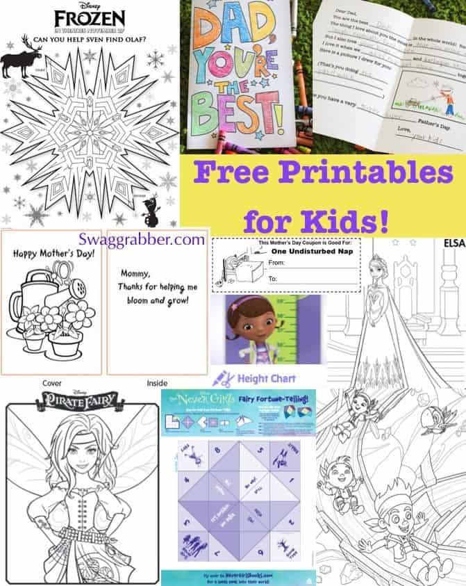 Free Printables for Kids - Frozen, Dora, Mother's Day & More!