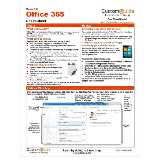 Free Microsoft Office 365 Cheat Sheet