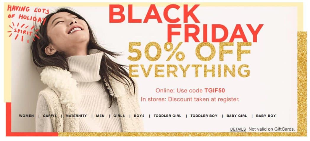Save 50% off at The Gap - No Exclusions