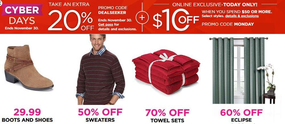 Kohl's Cyber Monday is LIVE NOW - 20% off Code + $10 off $50 Code + Free Shipping on $25 Purchase