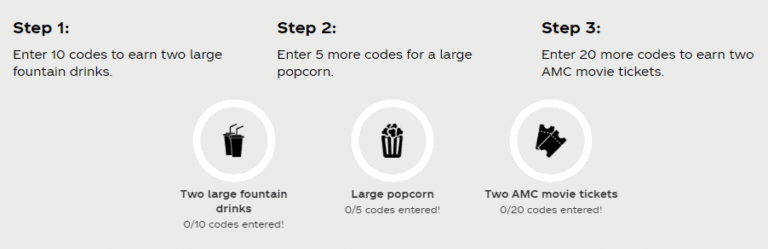 Enter 35 Coke Codes, Get 2 AMC Movie Tickets + Large Popcorn + 2 Fountain Drinks