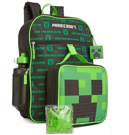 Little & Big Boys 5-Pc. Minecraft Backpack & Lunch Kit Set Only .99 (Was )