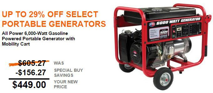 Home Depot Up To 29 Off Portable Generators Prices