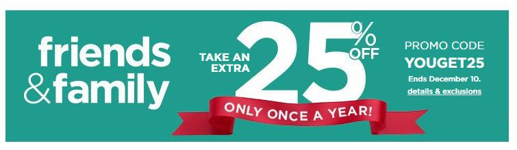 Kohl's Friends & Family Sale - EVERYONE Saves 25% off Site Wide