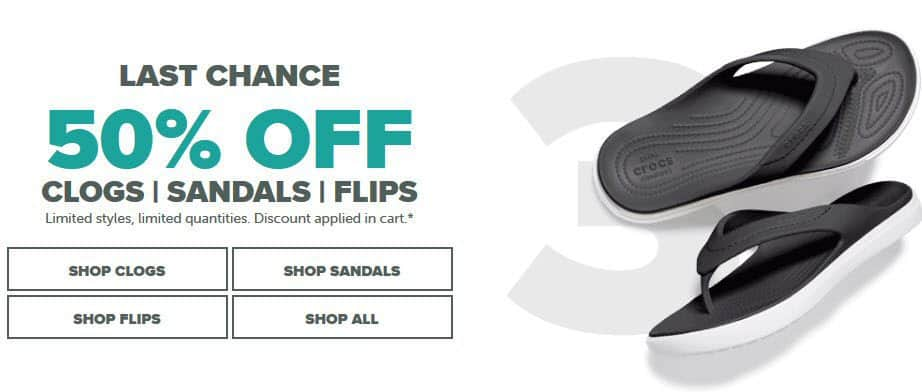 Save 50% off Clogs, Sandals, and Flips at Crocs.com + Extra 10% off = Crocs from $11.24 **HOT**