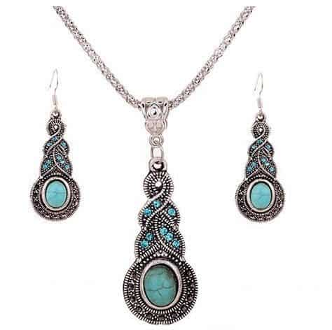 Beautiful Silver & Turquoise Drop Dangle Earrings & Necklace Set Only $3.21 Shipped