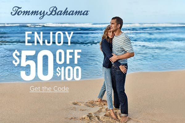 Save $50 off $100 Purchase at Tommy Bahama - Valid Online & In-Stores