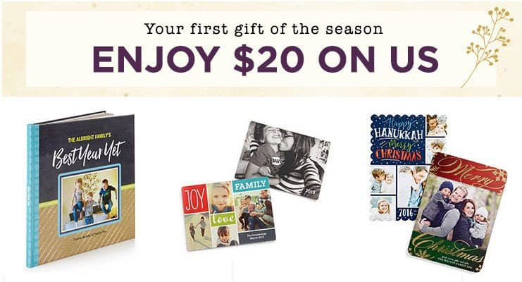 Save $20 off Any $20 Purchase at Shutterfly
