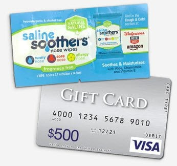 Free Sample of Saline Soothers Nose Wipes