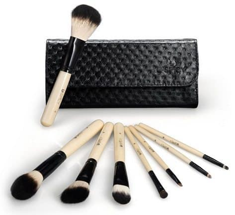 8-Piece Wooden Handle Make-Up Brush Set with Travel Pouch Only $6.99 (Was $30)