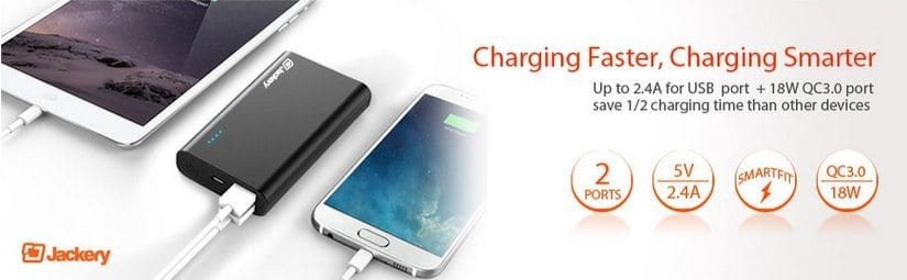 Jackery Thunder 10050mAh Portable Charger with Qualcomm Quick Charge 3.0 $22.49 (Was $70)