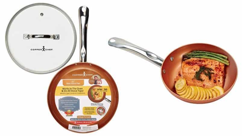 "10"" Round Copper Chef Pan with Glass Lid $19.99 **Today Only**"