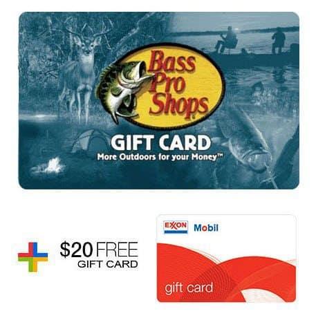 Buy $100 Bass Pro Shops Gift Card, Get FREE $20 ExxonMobil Gas Gift Card!!