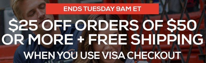 Fanatics: Extra $25 Off $50+ Order with VISA Checkout **Ends Soon**