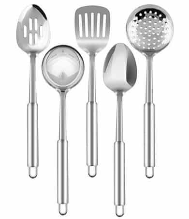 Stainless Steel 5 Piece Cooking Spoon Set $15.99 <br>(Was $30)