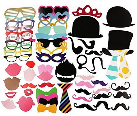58 Piece Photo Booth Props Kit Only $8.50