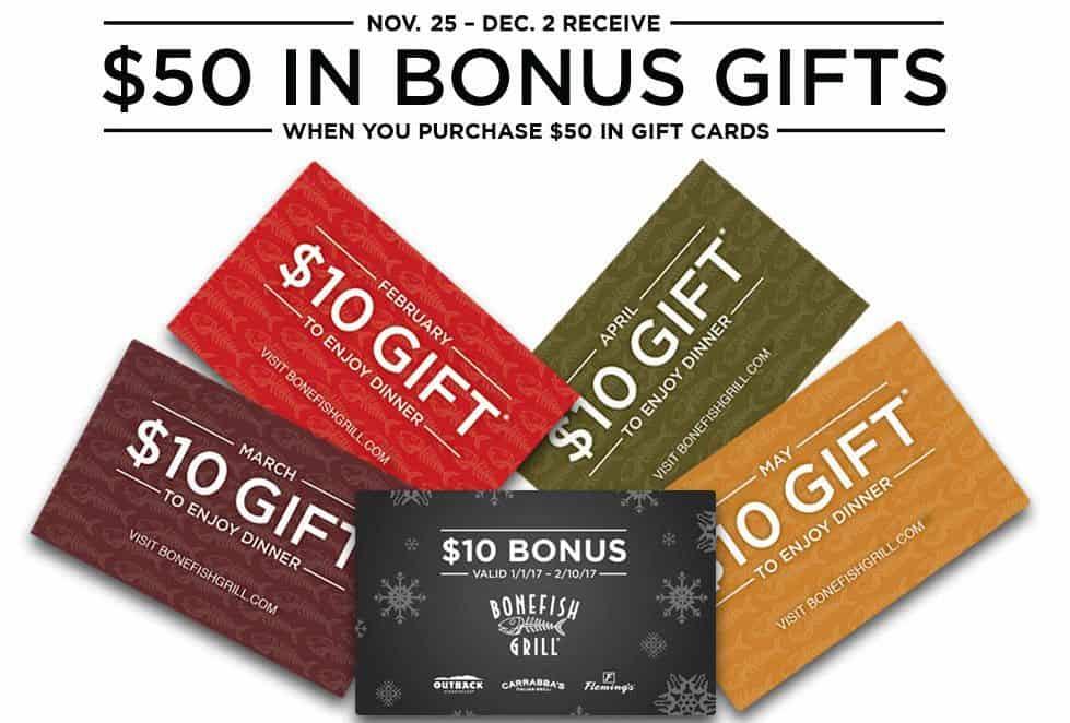 Bonefish Grill: Buy $50 Gift Card Get $50 in Bonus Gifts