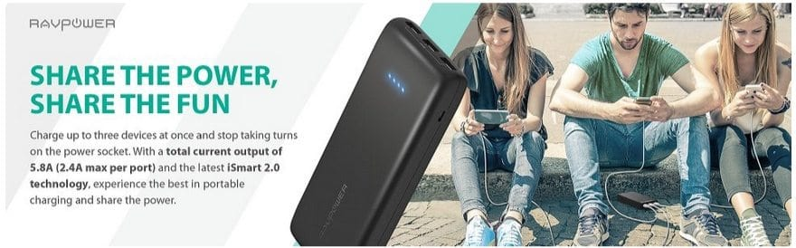 RAVPower 22000mAh 3-Port Power Bank Portable Charger $29.99 (Was $100) **Today Only**
