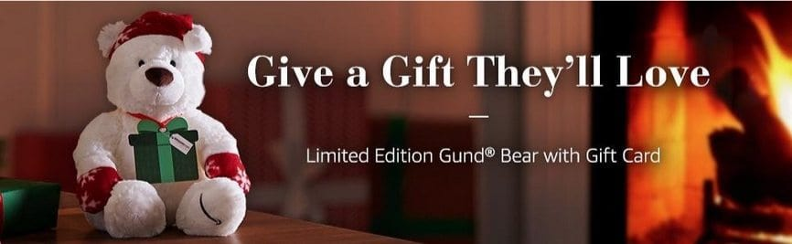 Free Limited Edition Holiday Gund Bear with $150 Gift Card Purchase