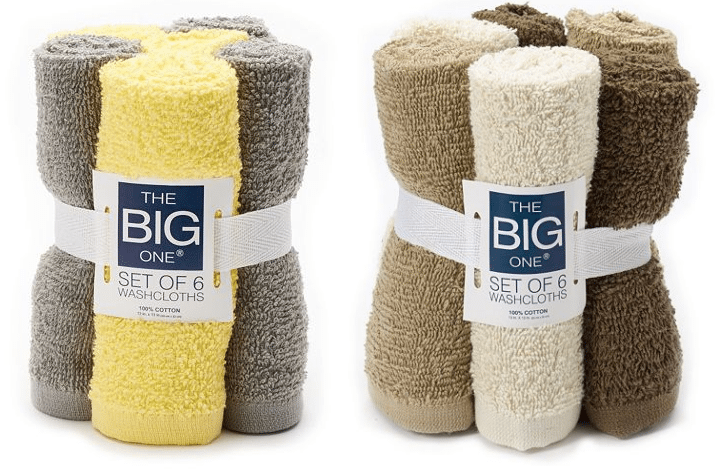 The Big One Solid 6-pack Washcloths $2.49 Shipped @ Kohl's