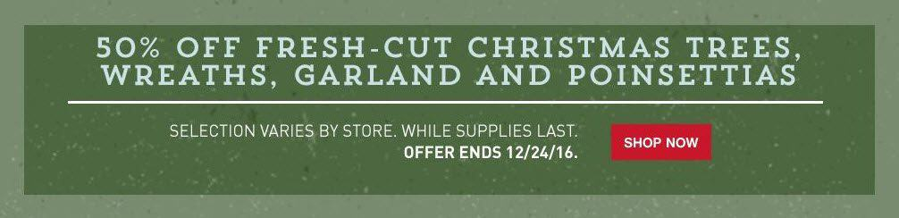 *HOT* 50% off Fresh Cut Christmas Trees, Wreaths, Garland, and Poinsettias at Lowe's