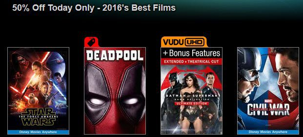 VUDU: Extra 50% Off 2016's Best Movies & TV Shows