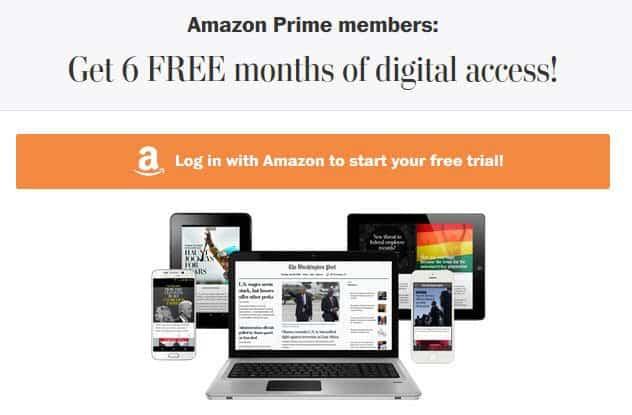 FREE 6-Month Washington Post Digital Subscription for Amazon Prime Members