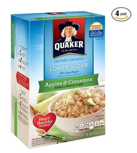 Quaker Instant Oatmeal Apples & Cinnamon <br>(Pack of 4 ) $4.58 **Only $1.15 per box shipped**