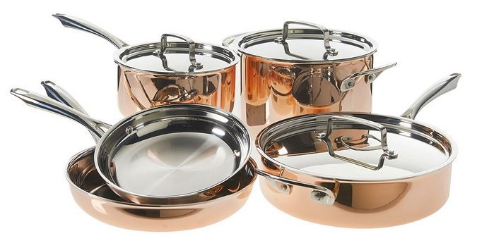 Cuisinart 8-Piece Tri-Ply Copper Cookware Set $199.99 (Was $400)