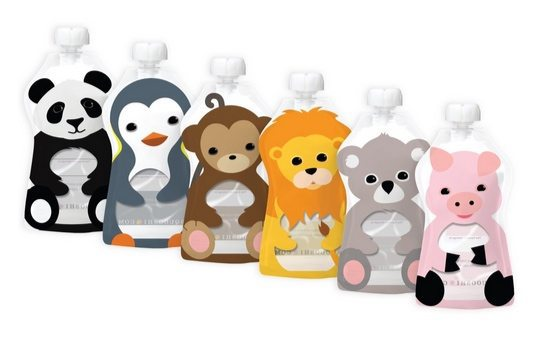 Squooshi Reusable Food Pouch Animal 6 Pack $14.99 (Was $30)