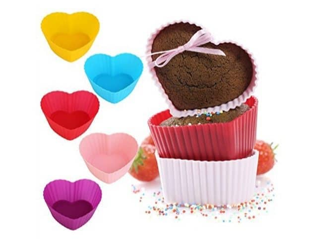 GreKitchen Heart Shaped Silicone Baking Cups 12 Pack Only $5.04 (Was $18.88)