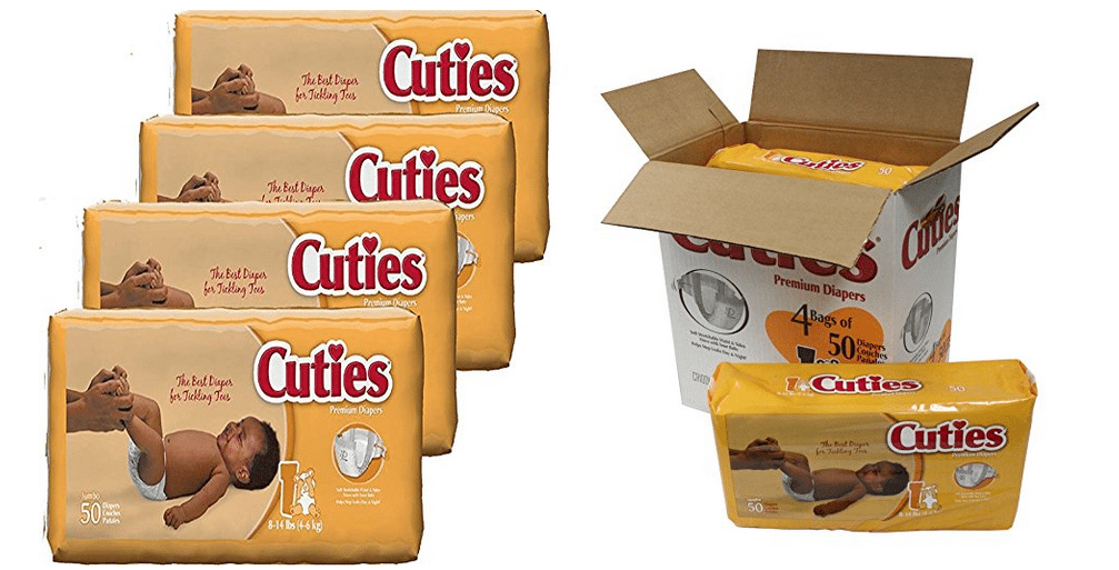 200 Size 1 Cuties Baby Diapers $12.92 Shipped - Only 6¢ Per Diaper