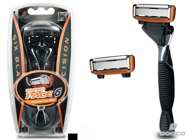 Men's Dorco Pace 6 Razor Handle w/ 2 Cartridges $2.99 Shipped