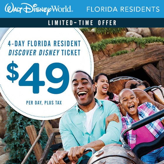 Walt Disney World: 4 Days Only 5 for Florida Residents **Buy Now**