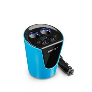 BESTEK 2-Socket Cigarette Lighter Power Adapter DC Outlet Splitter 3.1A Dual USB Car Cup Charger for iPhone 7/ 7 Plus, iPad, Samsung and More- Blue