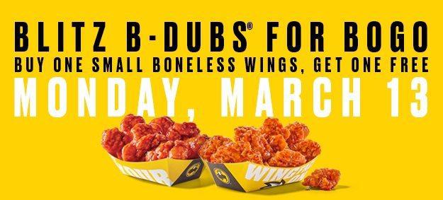Buffalo Wild Wings: BOGO FREE Small Boneless Wings **Today Only**