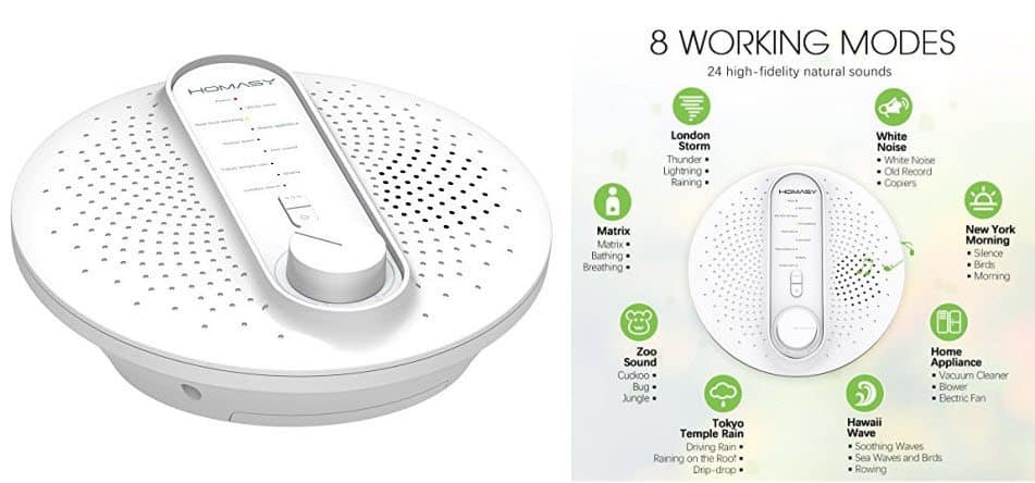 Homasy Sound Therapy White Noise, 24 Natural Soothing Sounds Machine $17.99 (Was $40)
