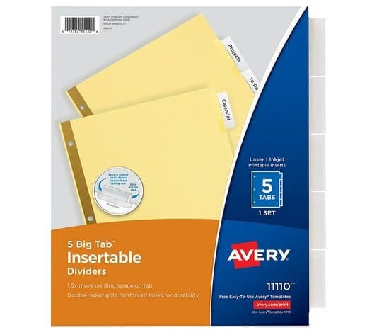 Avery Big Tab Insertable Dividers Only 69¢