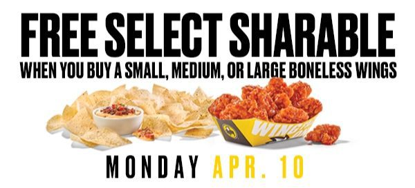 Buffalo Wild Wings: FREE Sharable Appetizer with Boneless Wings Purchase **Today Only**