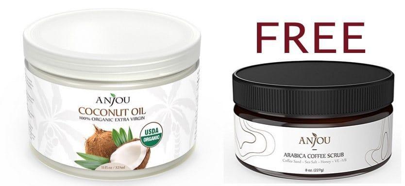 Anjou Organic Extra Virgin Coconut Oil Only $7.59 + FREE Anjou Arabica Coffee Scrub ($14 Value)