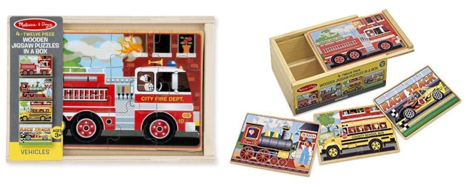 Melissa & Doug Vehicles 4-in-1 Wooden Jigsaw Puzzles Only $7.99