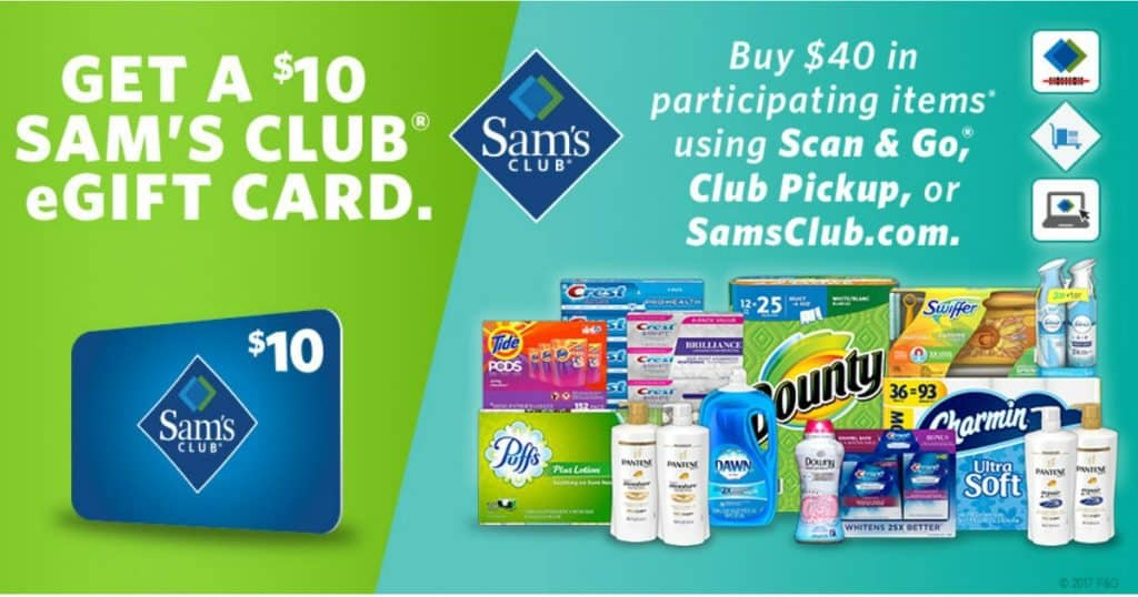 Sam's Club: FREE $10 Gift Card with Any $40 P&G Product Purchase