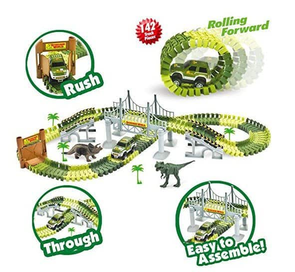 Race Car Track Toy with 142 Pieces Flexible Tracks Set $9.99 (Was $68.93)
