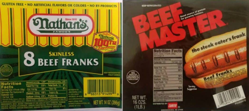 Huge Nathan's Famous & Beef Master Hot Dogs Recall
