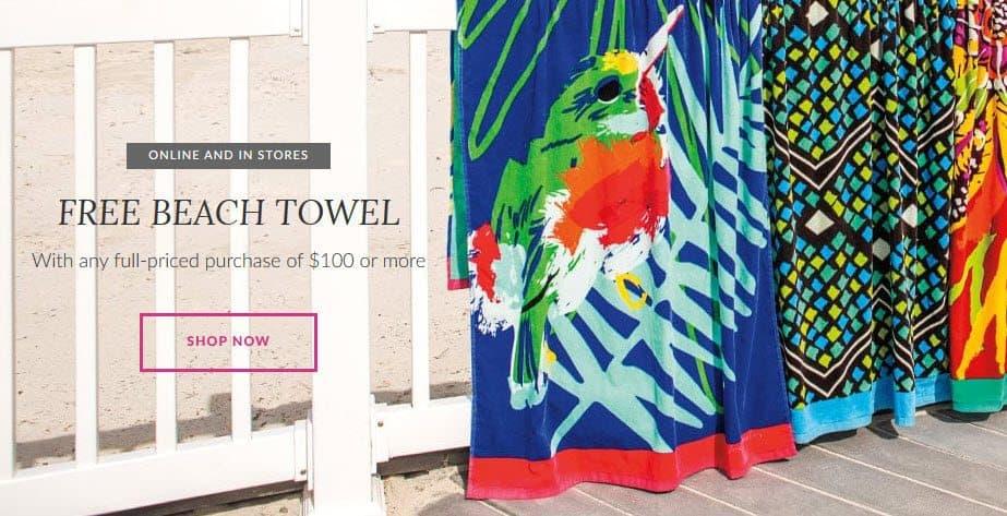 Vera Bradley : Free Shipping on ANY Order + Free Beach Towel w/ $100 Purchase