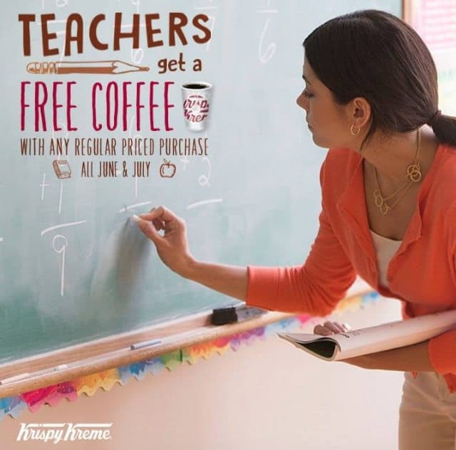 Krispy Kreme: FREE Coffee with Any Purchase for Teachers (June & July)