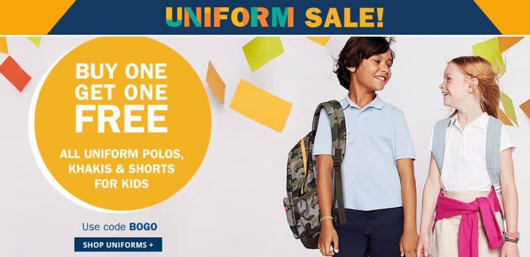Old Navy: All Uniform Polos, Khakis, and Shorts Buy One Get One Free **HOT**
