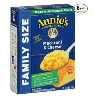 Annie's Organic Family Size Macaroni & Cheese 6-Pack $6.40 **Only $1.07 Per Box**