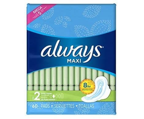 Always Maxi Pads with Wings 180-Count Only $7.26